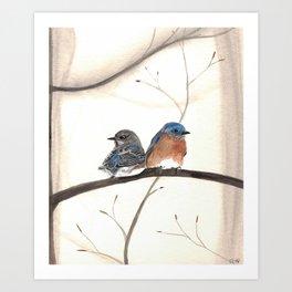 Bluebird Pair Watercolor Art Print