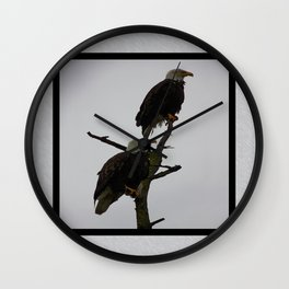 bald eagle pair in the rain (square) Wall Clock