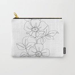 Floral one line drawing - Rose Carry-All Pouch