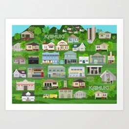 KAIMUKI TOWN, HAWAII Art Print
