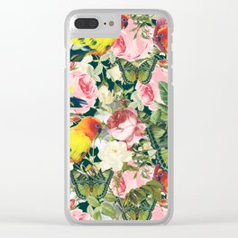 Parrots in rose garden Clear iPhone Case