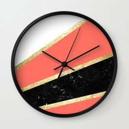 Living Coral, White, Black Marble and Gold Stripes Glam #1 #minimal #decor #art #society6 Wall Clock