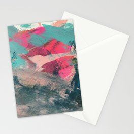 Sugar Rush [3]: a colorful, abstract mixed media piece in pinks, blues, and gold Stationery Cards