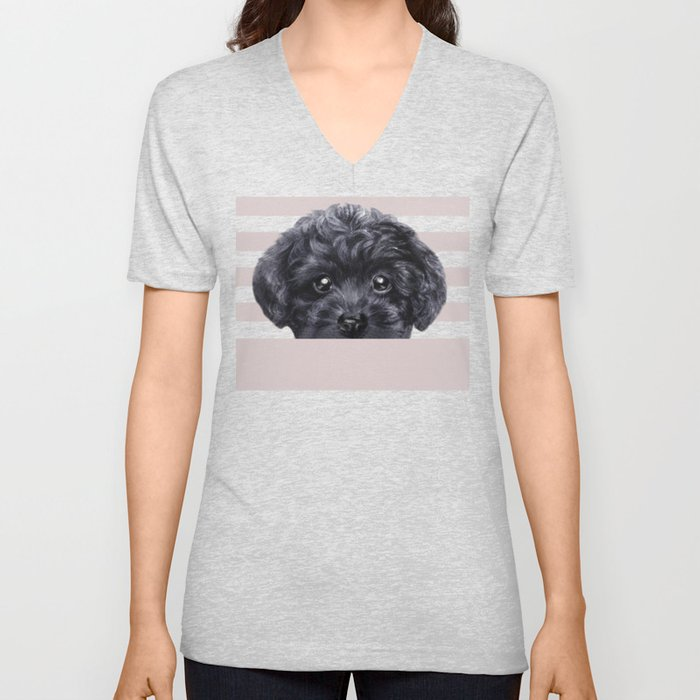 Black toy poodle Dog illustration original painting print Unisex V-Neck
