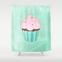 baking Shower Curtains featuring Cupcake tasty, sweet illustration by Thubakabra