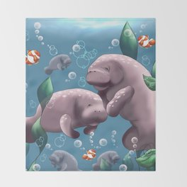 Manatee & Baby Throw Blanket