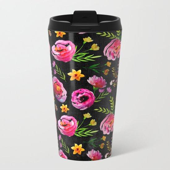 Vibrant Poppy Pattern Metal Travel Mug