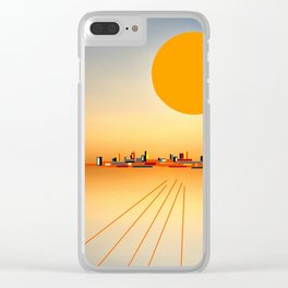 Horizon Sunset Orange Blue Clear iPhone Case