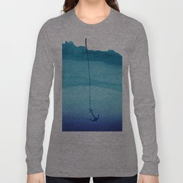 Cute Sinking Anchor in Sea Blue Watercolor Long Sleeve T-shirt
