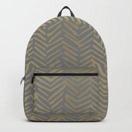 Herringbone, Boho, Mudcloth Pattern, Grey and Gold Backpack
