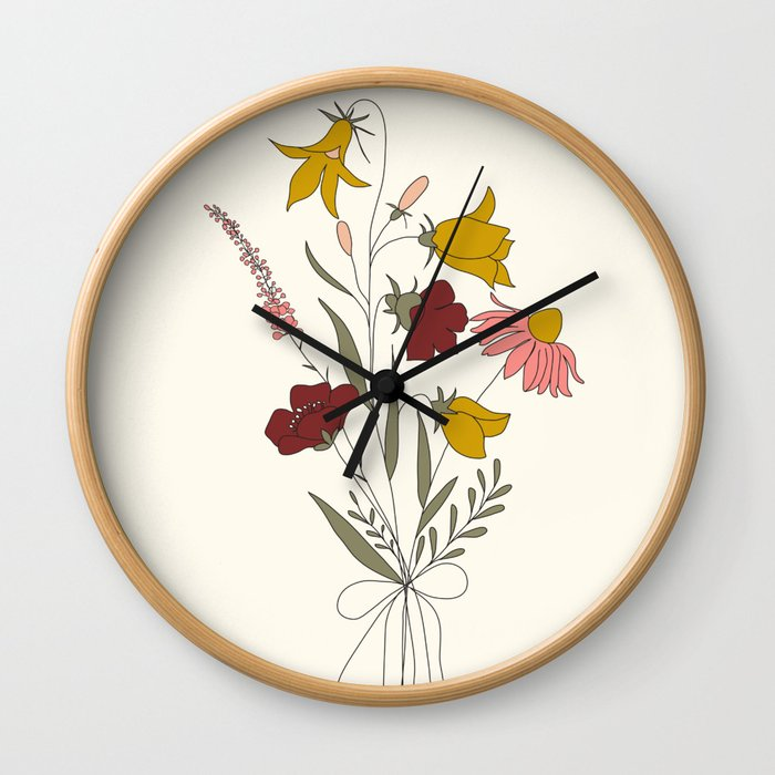 Wildflowers Bouquet Wall Clock