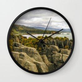 punakaiki pancake rocks with a sea view new zealand Wall Clock