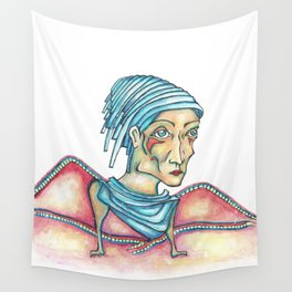 Blue Hat Woman Wall Tapestry