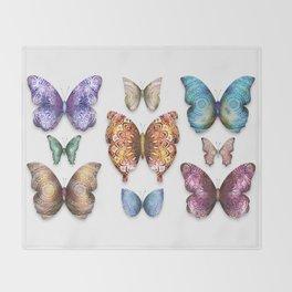 Butterfly Taxidermy 9 // Beautiful Mandala Detailed Wings Design // Orange Green Brown Throw Blanket