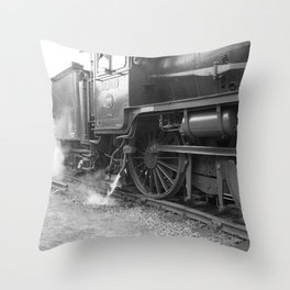 Old steam locomotive in the depot ZUG005CBx Le France black and white fine art photography by Ksavera Throw Pillow