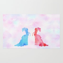 Mirorring Watercolor Victorian Woman style Rug