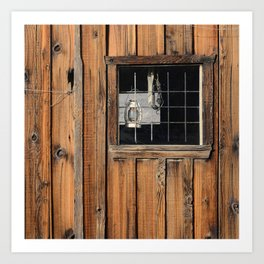 Rustic Cabin Window With Oil Lantern Art Print