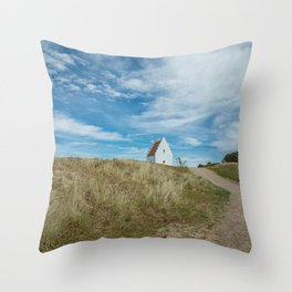 Sand covered Church in Skagen, Denmark Throw Pillow