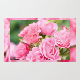 Beautiful pink roses bunch Rug