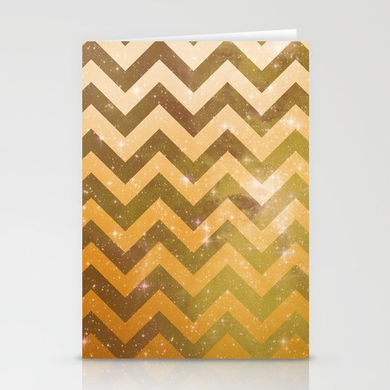 Golden Space Chevron Stationery Cards