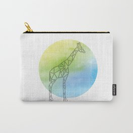Geometric Giraffe In Thin Stipes On Circle Background Carry-All Pouch