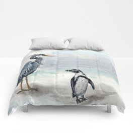 Odd Couple, Great Blue heron & Humboldt Penguin Comforters