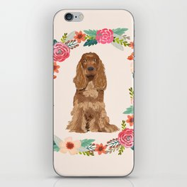 cocker spaniel dog floral wreath dog gifts pet portraits iPhone Skin