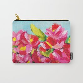 Abstract Pink Floral Carry-All Pouch