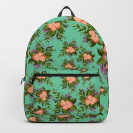 Watercolor Flowers on teal background Backpack