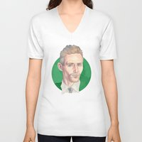 tom hiddleston V-neck T-shirts featuring Hiddleston by Megan Diño