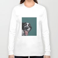 border collie Long Sleeve T-shirts featuring Maeby the border collie mix by Pawblo Picasso