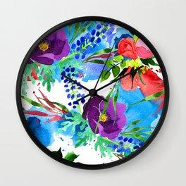 Purple Pansies, Red Roses, & Blue Floral Pattern Wall Clock