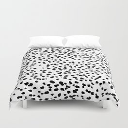 Nadia - Black and White, Animal Print, Dalmatian Spot, Spots, Dots, BW Duvet Cover