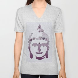 Buddha Head violet - grey Unisex V-Neck