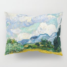 wheat field with cypresses 1889 by vincent van gogh Pillow Sham