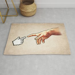 Funny 8bit Nerd & Geek Humor (Creation of Adam Parody) Rug