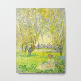 Claude Monet Impressionist Landscape Oil Painting Woman Seated Under The Willows Metal Print