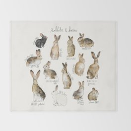 Rabbits & Hares Throw Blanket