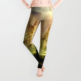 Abstract Golden Westminster Bridge in London Leggings