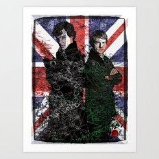 Sherlock & Watson Grunge Art Print