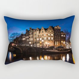 Amsterdam canal houses at night Rectangular Pillow