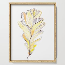 Decorative drawing of oak leaf Serving Tray