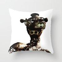 robot Throw Pillows featuring robot by Кaterina Кalinich