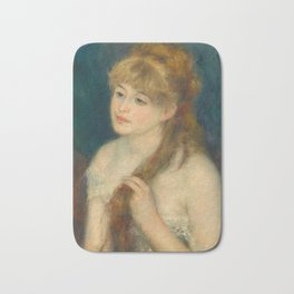 Classic Art - Young Woman Braiding Her Hair - Auguste Renoir Bath Mat