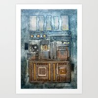 cityscape Art Prints featuring Cityscape by Maureen Mitchell