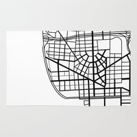 detroit Area & Throw Rugs featuring Detroit Streets by AnnieK