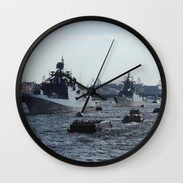 Russian Navy Battleships with passenger boats on Neva River. Wall Clock