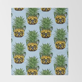 Pineapple French Bulldog Throw Blanket
