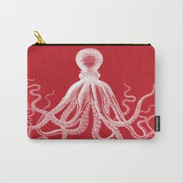 Octopus   Vintage Octopus   Tentacles   Red and White   Carry-All Pouch