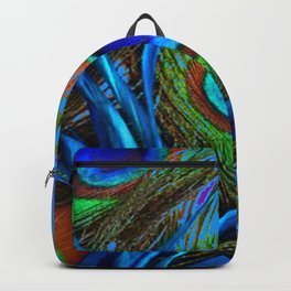 FLOWING BABY BLUE PEACOCK FEATHERS ART Backpack